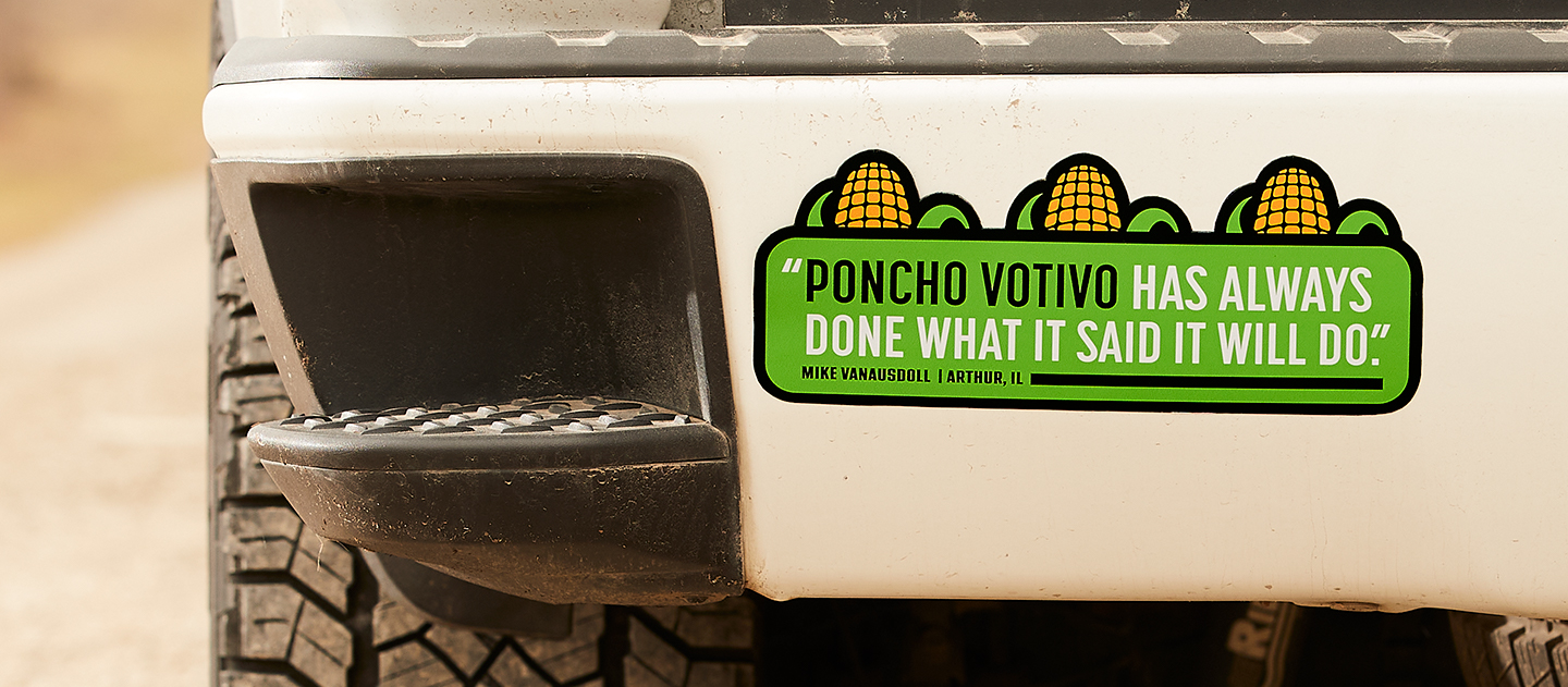 "Image of a bumper sticker with the text, ""Poncho Votivo has always done what it said it will do."""
